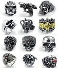 Women Mens Black Stainless Steel Ring Skull Biker Rings Size 7-15 Gift Fashion