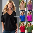 New Sexy Womens V-neck Zipper Long Sleeve Chiffon Casual Shirt Blouse Tops S-XXL