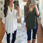 New Women Blouse Chiffon Long Sleeve T Shirt Casual Loose Short Dress Top LOT