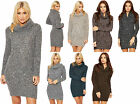 Womens Knitted Jumper Dress Ladies Cowl Roll Neck Long Sleeve Flecked Top 8-14