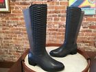 Aimee Kestenberg Grey Quilted Leather & Stretch Riding Boot NEW