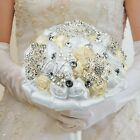 Bridal Brooch Wedding Bouquet Artificial Satin Rose Flower Crystal Beaded Pearls