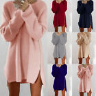 1PC Womens Long Sleeve Pullover Sweater Ladies Side Zip Jumper Short Mini Dress