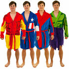 Marvel Adult Mens Superheroes Dressing Gown Bathrobe Iron Man Spiderman Hulk