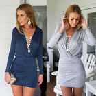 Women Sexy Summer Casual Long Sleeve Evening Party Cocktail Short Mini Dress Top