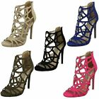 Ladies Spot On Stiletto Heeled Evening Party Sandals F10414