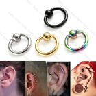 "4 Pair Mix Color Men Women Steel 16G 1/4-1/2"" Ear Tragus Helix Hoop Ring Earring"
