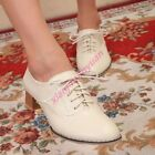 Oxfords Womens Stylish Middle Chunky Heels Lace Up Preppy Preppy Work Shoes New