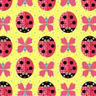 SUNSHINE DAY LADY BEETLE BUTTERFLY YELLOW QUILT SEWING FABRIC *Free Oz Post