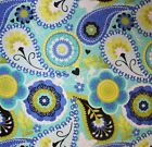 PAISLEY FLORAL BLUE YELLOW AQUA SEWING FABRIC *Free Oz Post