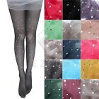 Women Crystal Rhinestone Pantyhose Footed Stretch Tights Thin Stockings YBBD67