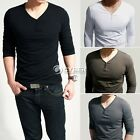 New Mens Slim Fit Cotton V-Neck Long Sleeve Casual T-Shirt Tee Top SIZE M-XXL
