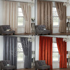 PAIR OF WAFFLE CHENILLE EFFECT LINED TAPE TOP CURTAINS GREY TAUPE NATURAL ORANGE
