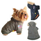 Pet Puppy Dog Clothes US Army Bomber Furry Hoodie Jacket