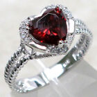 EXQUISITE HEART 2 CT GARNET 925 STERLING SILVER RING SIZE 5-10