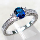 CHARMING SAPPHIRE 925 STERLING SILVER RING SIZE 5-10