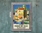 Discover France by Train - Colorful Vintage Travel Poster