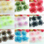 20/50pcs Satin Ribbon Flower with Pearl Wedding Appliques Crafts DIY 15 Colors