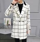 Mens White Checked Woolen Winter Thick Trench Coat Long Lapel Outwear Jackets #