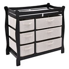 Sleigh Style Baby Changing Table Diaper 6 Basket Drawer Storage Nursery US Stock