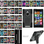 For Nokia Lumia 830 Hybrid Dual Layer Protective Case with Built-in Kickstand
