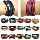 Great Men Women Wrap Multilayer Genuine Leather Bracelet Braided rope Jewelry