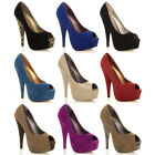 WOMENS PLATFORM LADIES PEEP TOE PEEPTOE PUMPS HIGH HEEL CLASSIC COURT SHOES SIZE