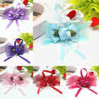 10pcs Mesh Satin Ribbon Flowers Bows Rose Appliques Craft Wedding Decor DIY