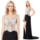 Women Sexy Shiny Sheer Backless Long Ball Gown Evening Cocktail Party Prom Dress