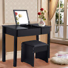 Fashion Folding Mirror Vanity Set Makeup Table Dresser Wood+Bench Drawer US Ship