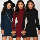 Women Bodycon Turtleneck Slim Pencil Casual Work Sheath Sexy Club Party Dress