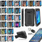 For Samsung Galaxy J1 J120 Dual Layer Protective Case Kickstand + Tempered Glass