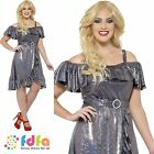 CURVES 70S DISCO DIVA SILVER LAME UK 16-30 Womens Ladies Fancy Dress Costume