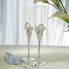 Calla Lily Wedding Cake Serving Set and Wedding Toasting Flutes