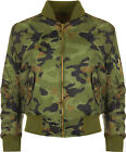 New Womens Zip Up Biker Jacket Camo Print Bomber Top Ladies Padded Short Coat