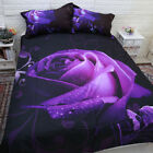 Rose Quilt Duvet Doona Cover Set Doulbe/Queen/King Size Floral Bed New Purple