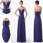 Long Purple Bridesmaid Wedding Dress Formal Chiffon Evening Party Prom Ball Gown