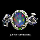 Amazing Black Opal Chrome Diopside Sapphire 925 Sterling Silver Ring Size 8.5