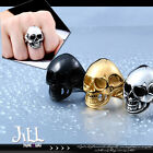 punk rock visual heavy metal Human skull titanium steel military ring【J1A625】