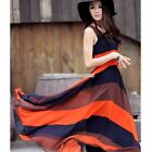 Womens Summer Beach Full Length Stripes Sleeveless Tank Raceback Long Maxi Dress