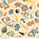 ROCKET AGE MAIN CREAM SPACE ASTRONAUT RILEY BLAKE FLANNEL FABRIC *Free Oz Post