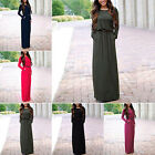 CHIC Fashion Women Casual Long Sleeve Belted Party Evening Cocktail Long Dress