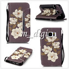 Begonia flower pattern wallet Leather case cover with strap for various phone