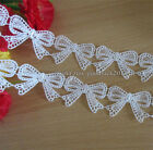 1 Yard, White Bowknot Lace Trim Wedding Ribbon Decor Applique Sewing Craft FL131