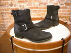 Clarks Black Distressed Leather Plaza Float Buckle Ankle Boots NEW