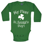 My First St Patricks Day  Cute Funny Irish Green Long Sleeve Baby One Piece