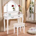 4-Drawer Vanity Makeup Dressing Table Set w/Stool Folding Mirror Jewelry Desk US
