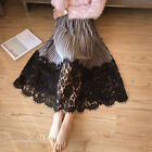 Elegant Women A-Line Long Lace Stitching Maxi Skirts Modest Elastic Waist Skirt