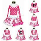 NECK LACING Pink White Polka Dot Top Hot Pink White Wave Pettiskirt Skirt 1-8Y