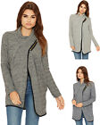 Womens Knitted Open Poncho Cardigan Cape Ladies Zip Up Pocket Top New 8-14